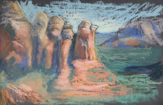 Coffee Pot Rock - 9 X 12 - Pastel